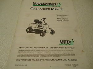 MTD Yard Machines 560 Rear Engine Riding Mower Operators Manual 27 Pages