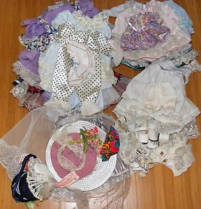 Lot 52 Pcs Reborn OOAK Doll Clothing Accessories Dresses Socks Shoes Stands More