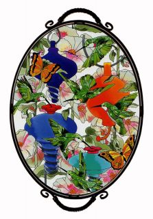 Hummingbird Feeders Butterflies Hibiscus Art Glass Occasional Accent Table