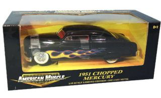 1951 Mercury Chopped w Flames American Muscle Diecast 1 18 Scale Black