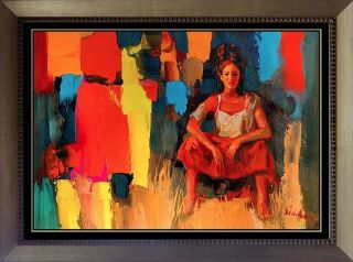 RARE Nicola Simbari Original Signed Art Board Oil Painting Woman Girl Landscape