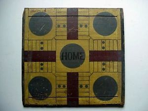 Antique Parcheesi Checkers Game Board Early Folk Art