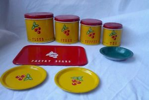 Antique 8 Pieces Tin Ohio Art RARE Retro Kitchen Storage Container Set