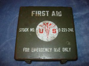 Original Post WWII US Army 24 Unit First Aid Kit Can with Label