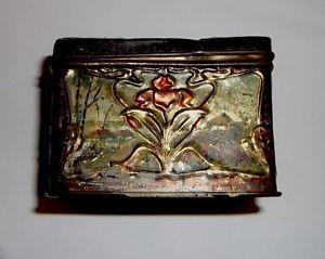 Antique 1800's Painted Tin Russian Art Nouveau Vintage Hinged Tea Box Container