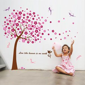 Wall Sticker Mural Decal Paper Art Decoration Children Pink Tree Fairy Kids Baby
