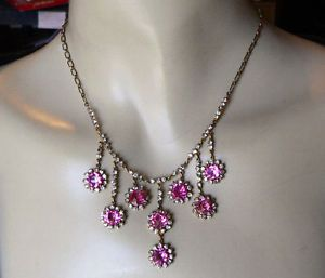 Art Deco Pink Czech Glass Rhinestone Bib Necklace Paper Clip Chain Beauty NR