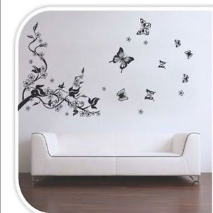 Natural Wall Paper Butterfly Flowers Trees Wall Stickers Wall Decals Vinyl Art