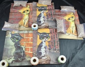 Vintage Lot of 5 Prints Paper Pity Kitty Gig Art Litho Cat 60 s Sad Big Eyed Art