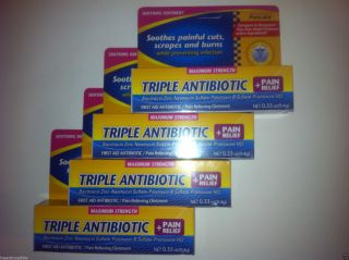 4 Pack Lot Maximum Strength First Aid Triple Antibiotic Ointment Pain Relief