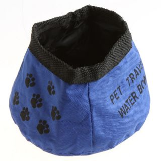 Pet Dog Cat Collapsible Foldable Camping Travel Bowl Water Food Feeder Blue