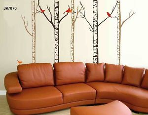 Modern Art Birch Bird Tree Wall Stickers Mural Art Decal Vinyl Wall Paper Decor