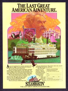 "1981 Mark Twain Image Mississippi Queen Steamboat Art ""Vacation Adventure"" Ad"