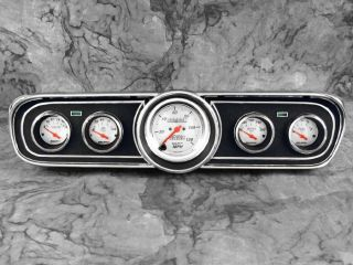 65 66 Mustang Billet Aluminum Adapter Panels w Auto Meter Arctic White Gauges
