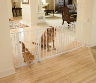"Maxi Walk thru Dog Cat Steel Gate Room Fence w Pet Door 37 60""WX30""H Wall Mount"