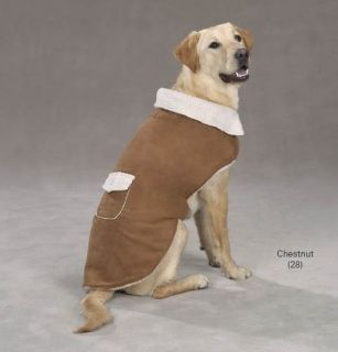 Zack Zoey Sherpa Dog Coat Jacket Chestnut Grey Black Faux Suede XXS XL Pet