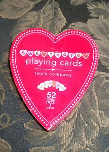 Two's Company Sweet Notes Heart Shaped Playing Cards Valentines Day Gift