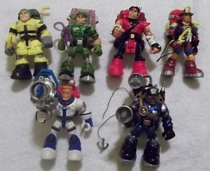 Lot of 6 Mattel Fisher Price Rescue Heroes Action Figures with Backpacks