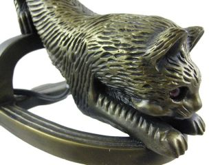 Bronzed Finish Long Tailed Cat Table Lamp Glass Shade
