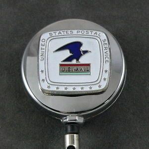 US Postal Service Mail Retractable ID Card Holder Badge Pull Reel Chrome USPS