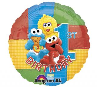 "2 Baby Sesame Street Elmo Big Bird Happy 1st Birthday 18"" Balloon Party Supply"