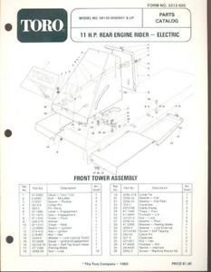 Toro 11 HP Rear Engine Riding Mower Parts Catalog Book Manual List