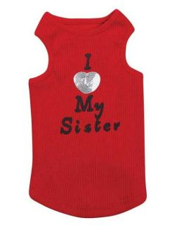 I Love My Sister Casual Canine Dog Tank Top Shirt XXS L Heart Red