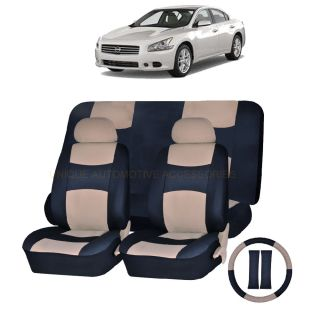 Nissan Rogue Maxima PU Leather Beige Black Semi Custom Seat Covers 11pc Set