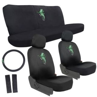 11 PC Set Green Gecko Lizard Reptile Van Seat Covers Wheel Belt Front Rear