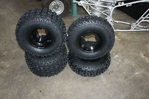 Honda 300EX 4TRAX Front and Rear Wheel and Tires Bazooka Heavy Duty Black Rims