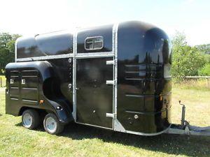 Horse Box Trailer with Overnight Living Aluminium Floor Metallic Black