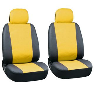 23pc Full Set Yellow Black Auto Van Seat Covers Bucket Bench Wheel Head Belt Pad