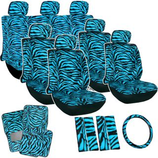 27pc Blue Zebra Tiger Animal Print Complete Van Seat Covers Full Set Floor Mat