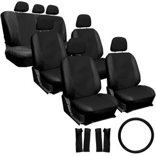 23pc Full Set Leather Black Van Seat Covers Buckets Bench Wheel Head Belt Pads