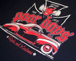 Large Poor Boys Car Club Rods Kustom T Shirt Hot Rod Lowrider Midnight Mass