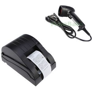 Set USB 58mm Thermal Receipt POS 384 Line Dot Printer Auto Laser Barcode Scanner