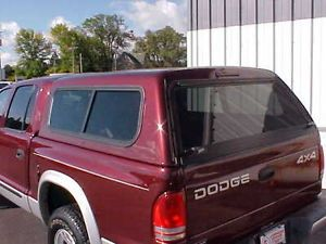 "Burgundy ""Jason"" Fiberglass Truck Cap Fits Dodge Dakota Crew 4 Doors 2001 2008"