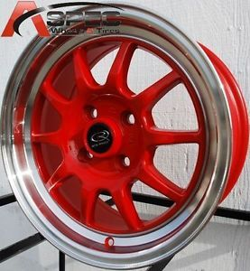 16x7 Rota GT3 Wheels 4x100 Red Rims ET40 Fits 4 Lug Honda Civic 1980 2005