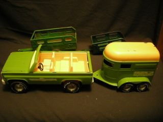 Vintage Nylint Steel Chevy Blazer with Horse Trailer and Two Extra Trailers