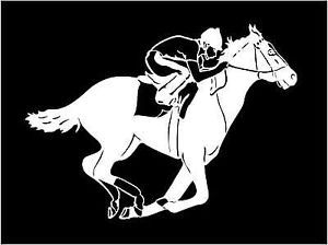 Race Horse Decal with Jockey Track Car Window Laptop Trailer Sticker Graphics