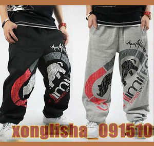 Rap Hip Hop Boy Loose Sweatpants Red Rhino Graffiti Track Pants Streetwear Skate