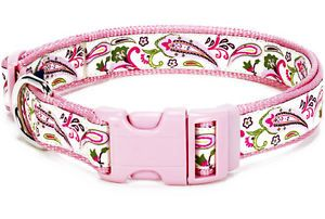 "Douglas Paquette Nylon Dog Collars Leads Harnesses ""Pink Paisley "" Design"