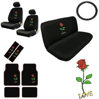 15pc Set Seat Covers Red Rose Love Flowers Design Floor Mat Wheel Belt Head Pads