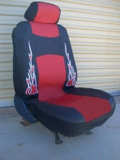 Flame Seat Covers Car Truck Red Black Faux Leather