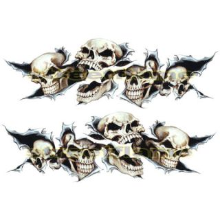 Shreaded Skull Set Decals Stickers Motorcycles Car Snowboard Skateboard Bike