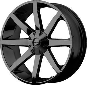 22 inch KMC Slide Gloss Black Wheels Rims 5x5 5 5x139 7 Dodge RAM 1500 Bronco