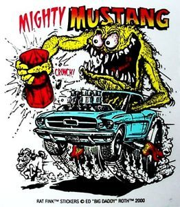 Rat Fink Ford Mustang Decal Racing Car Sticker Hot Rod