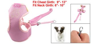 Pink Nylon Mesh Sponge Pet Dog Cat Walking Harness Vest Size 1 w Leash