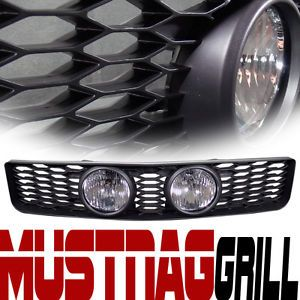 Blk Mesh Front Hood Bumper Grill Grille w Clear Fog Lights 05 09 Ford Mustang GT