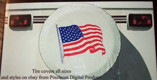 "Flag Spare Tire Cover camper motorhome RV 30"" 235 75 16"